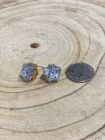 Load image into Gallery viewer, Glitter Flower Stud Earrings in Silver