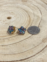 Load image into Gallery viewer, Glitter Flower Stud Earrings in Multi