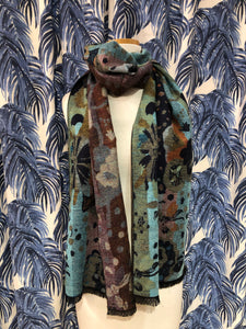 Reversible Cashmere Scarf in Flower Power