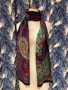 Reversible Cashmere Scarf in Pink Paisley