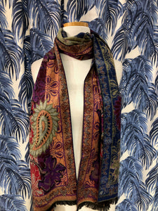 Reversible Cashmere Scarf in Olive Paisley