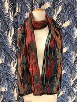 Load image into Gallery viewer, Reversible Cashmere Scarf in Red Abstract