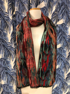 Reversible Cashmere Scarf in Red Abstract