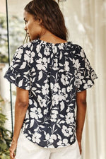 Load image into Gallery viewer, Idette Ruffle Sleeve Top in Navy