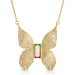 Load image into Gallery viewer, Gem Butterfly Necklace in Watermelon Tourmaline