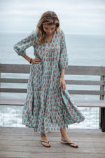Load image into Gallery viewer, Indira Maxi Dress in Milky Blue Vintage Floral