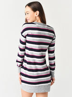 Load image into Gallery viewer, Vibrant Stripe Sweater Dress in Multi