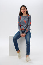 Load image into Gallery viewer, Velma Lightning Strikes Sweater in Grey/Orange Combo