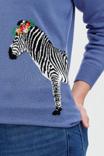 Load image into Gallery viewer, Rita Sweater in French Blue Zebra