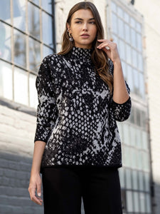 Mock Neck Sweater in Abstract Black