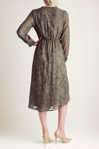 Delicate Burnout Midi Dress in Dark Olive