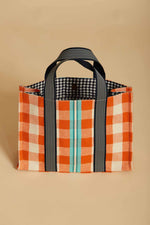 Load image into Gallery viewer, Nomadito Mini Tote in Coral Check