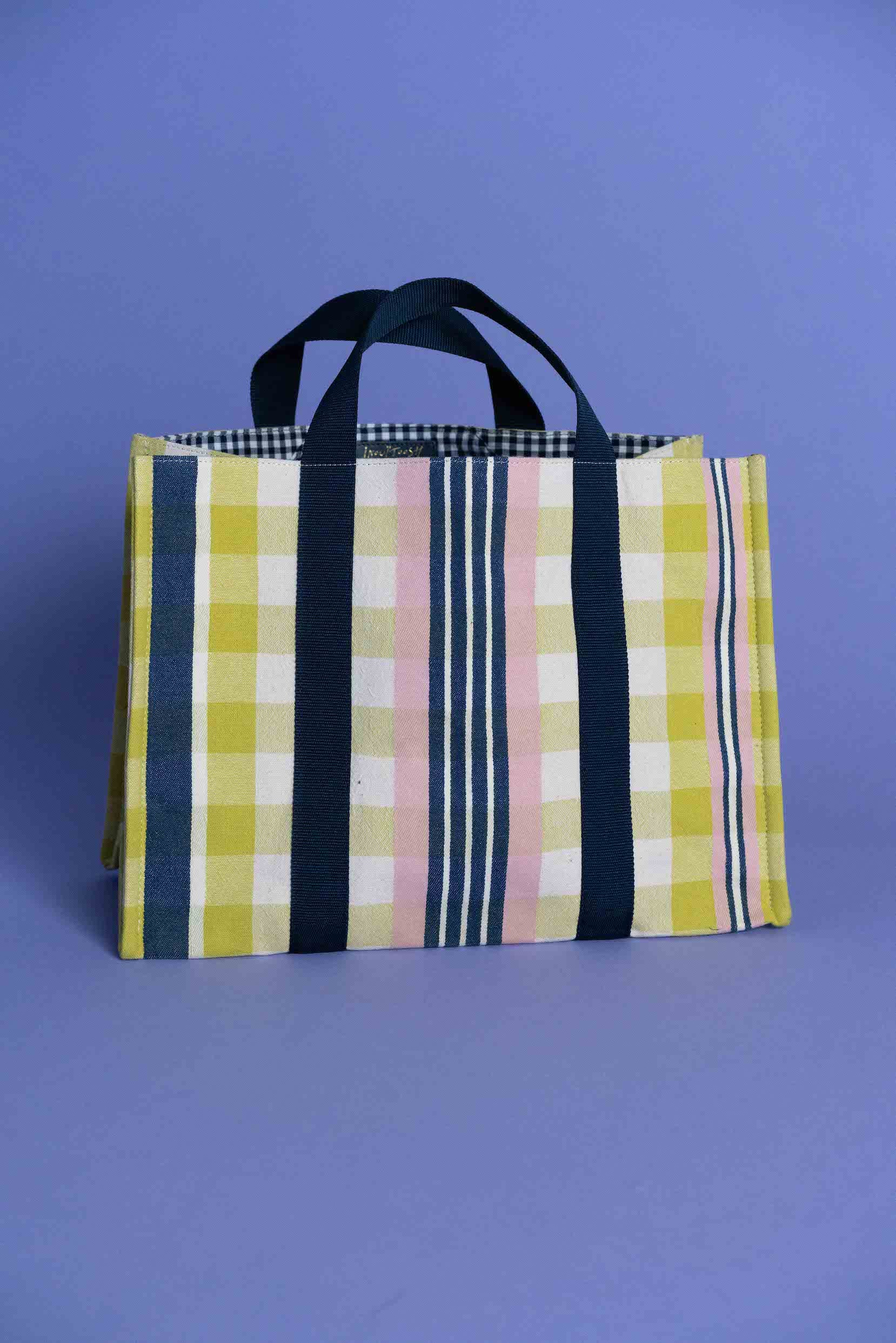 Shopping Tote Bag in Yellow Check
