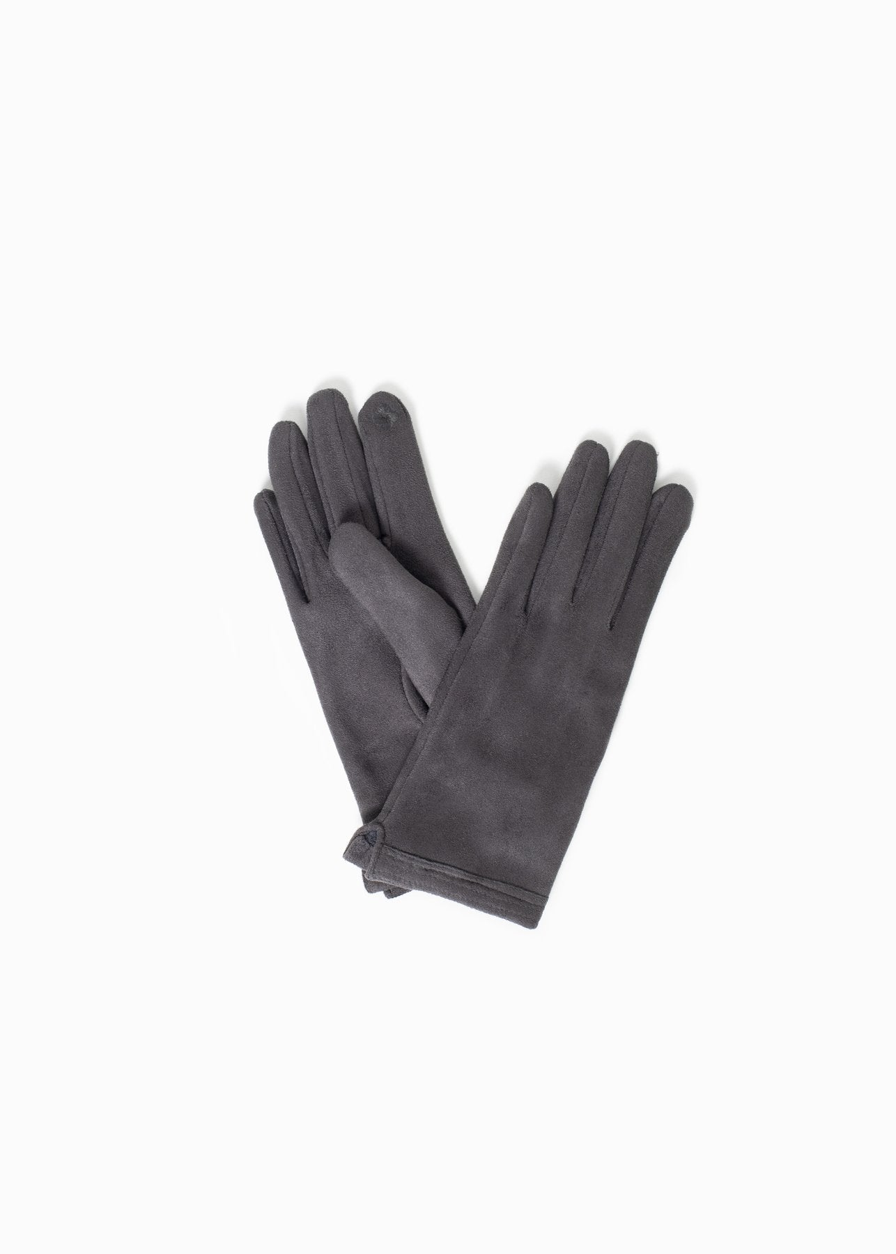 Stitch Point Suede Gloves in Grey