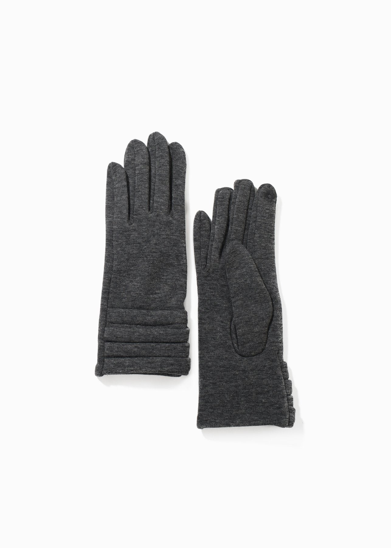 Pleats Trim Gloves in Grey