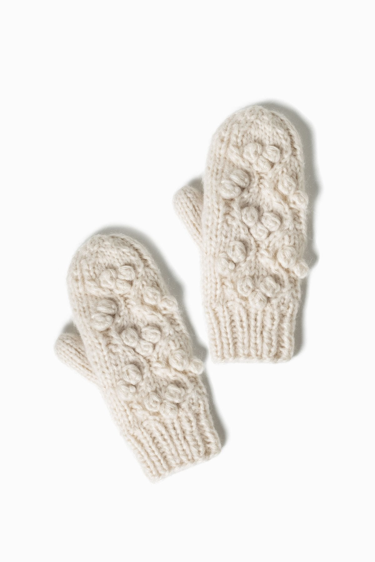 Little Snowball Cable Mittens in Ivory