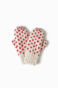 Little Heart Mittens in Ivory Combo