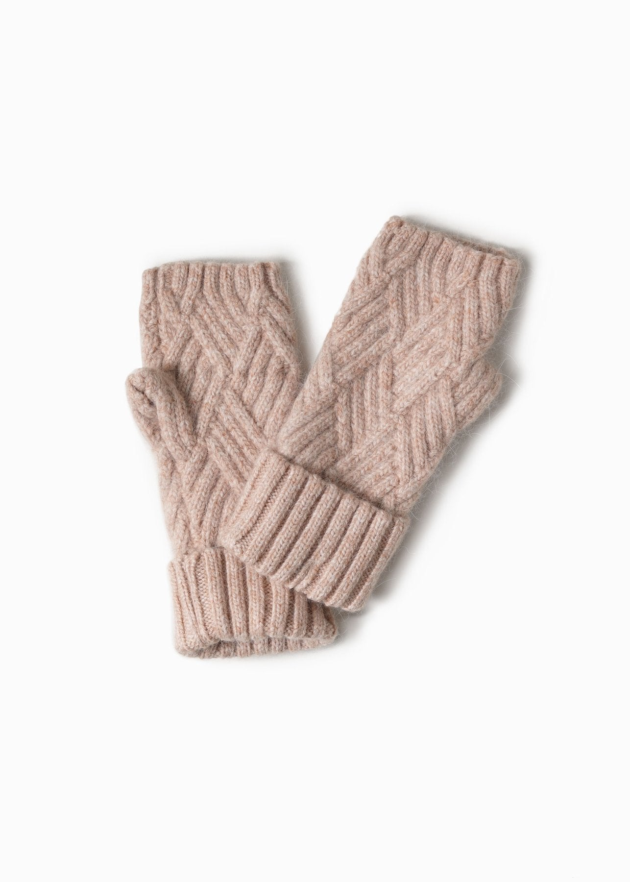 Chevy Woven Fingerless Gloves in Blush