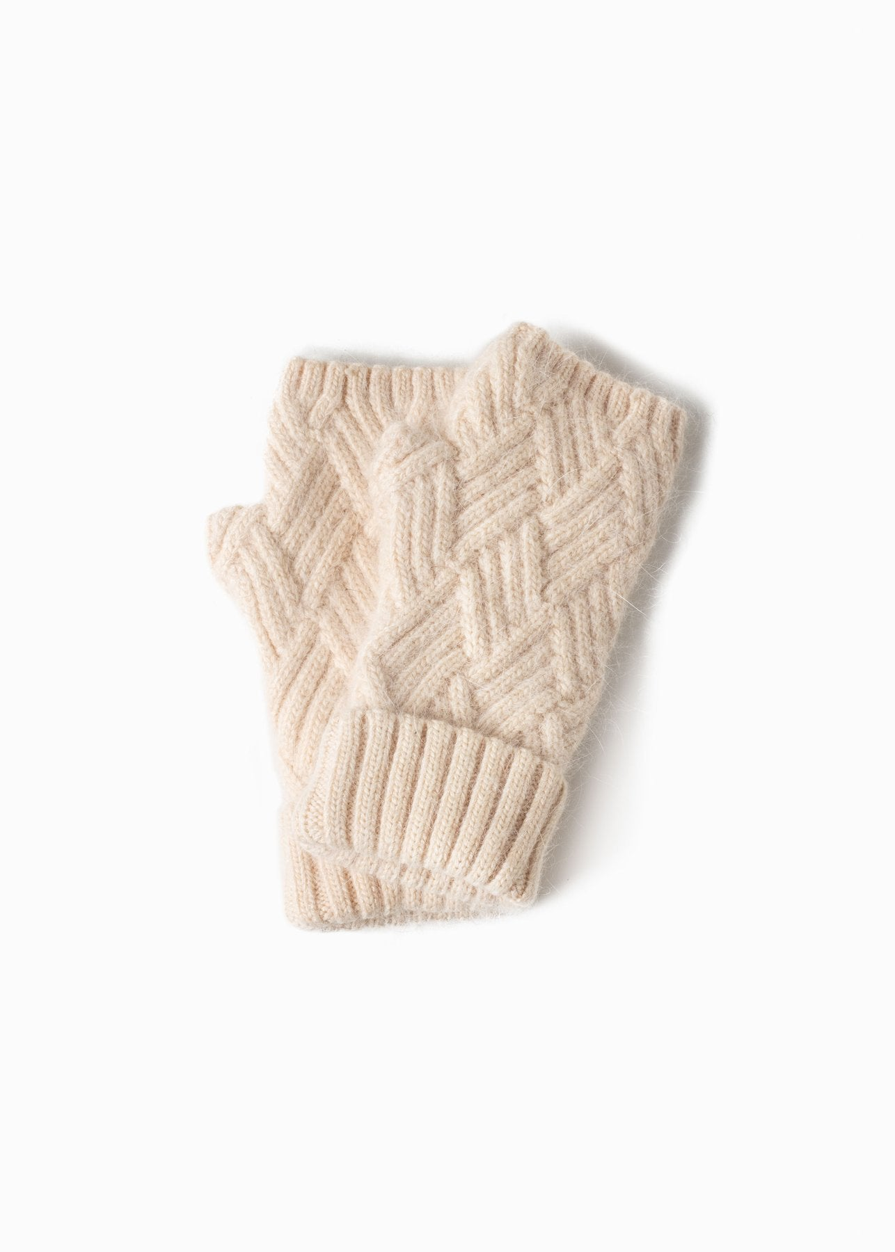Chevy Woven Fingerless Gloves in Ivory