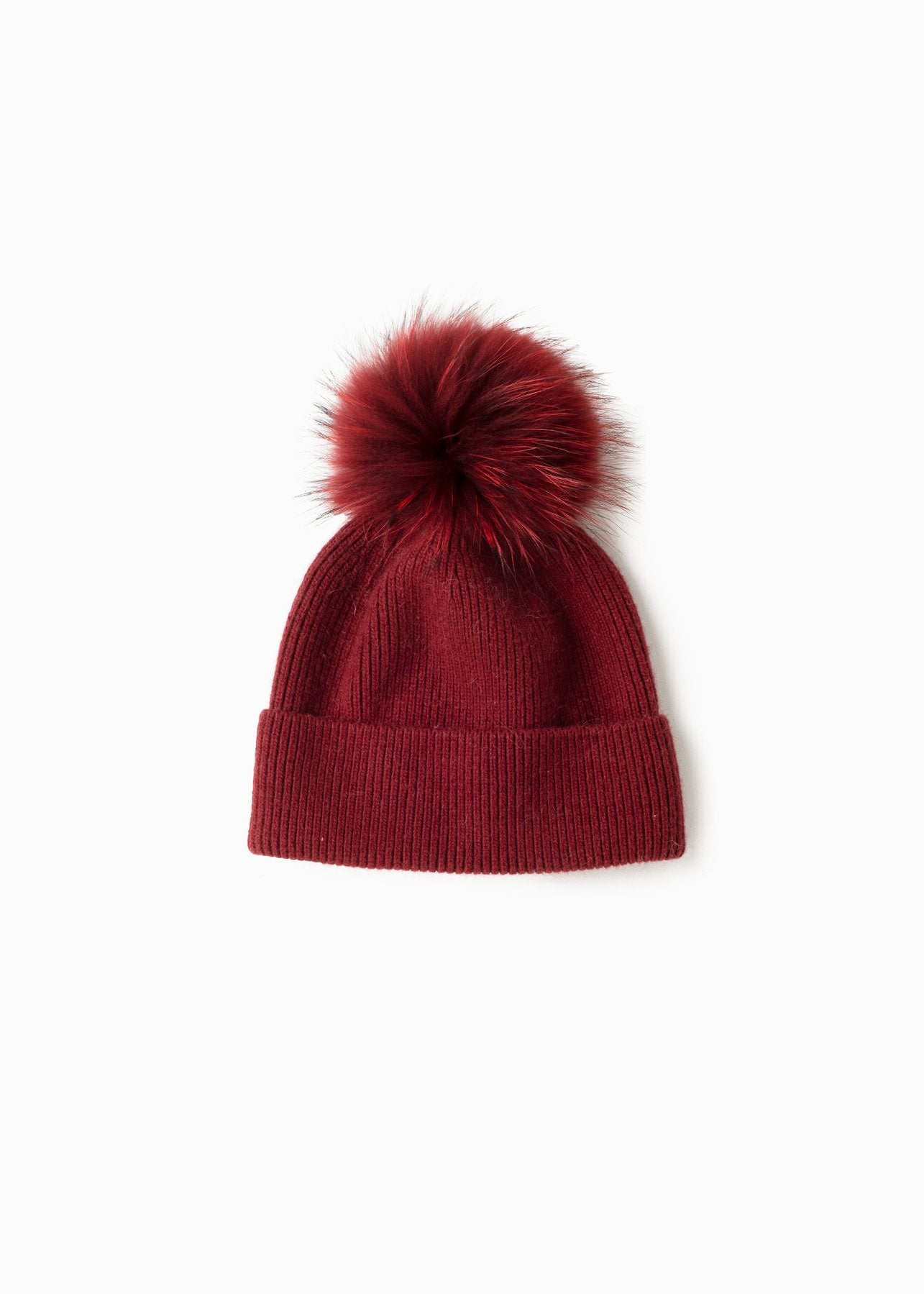 Cashmere Blended Ribbed Knit Beanie in Burgundy