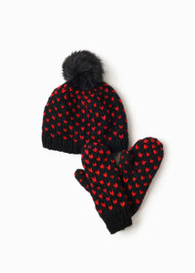 Little Heart Pom Pom Hat in Black