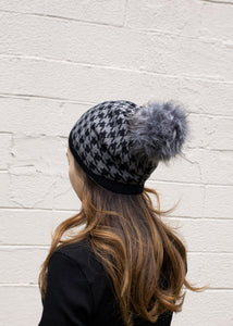 Houndstooth Knit Beret in Ivory