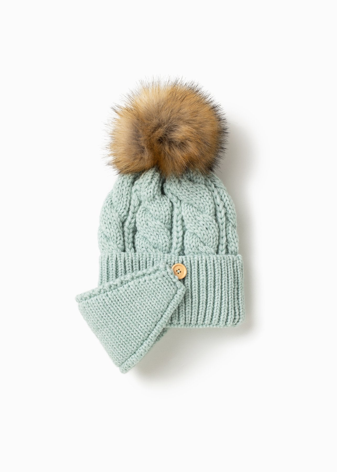 Pompom Hat with Ribbed Mask in Mint