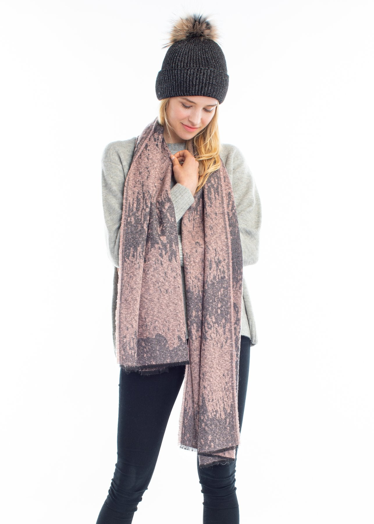 Sparkled Burn Out Scarf in Blush