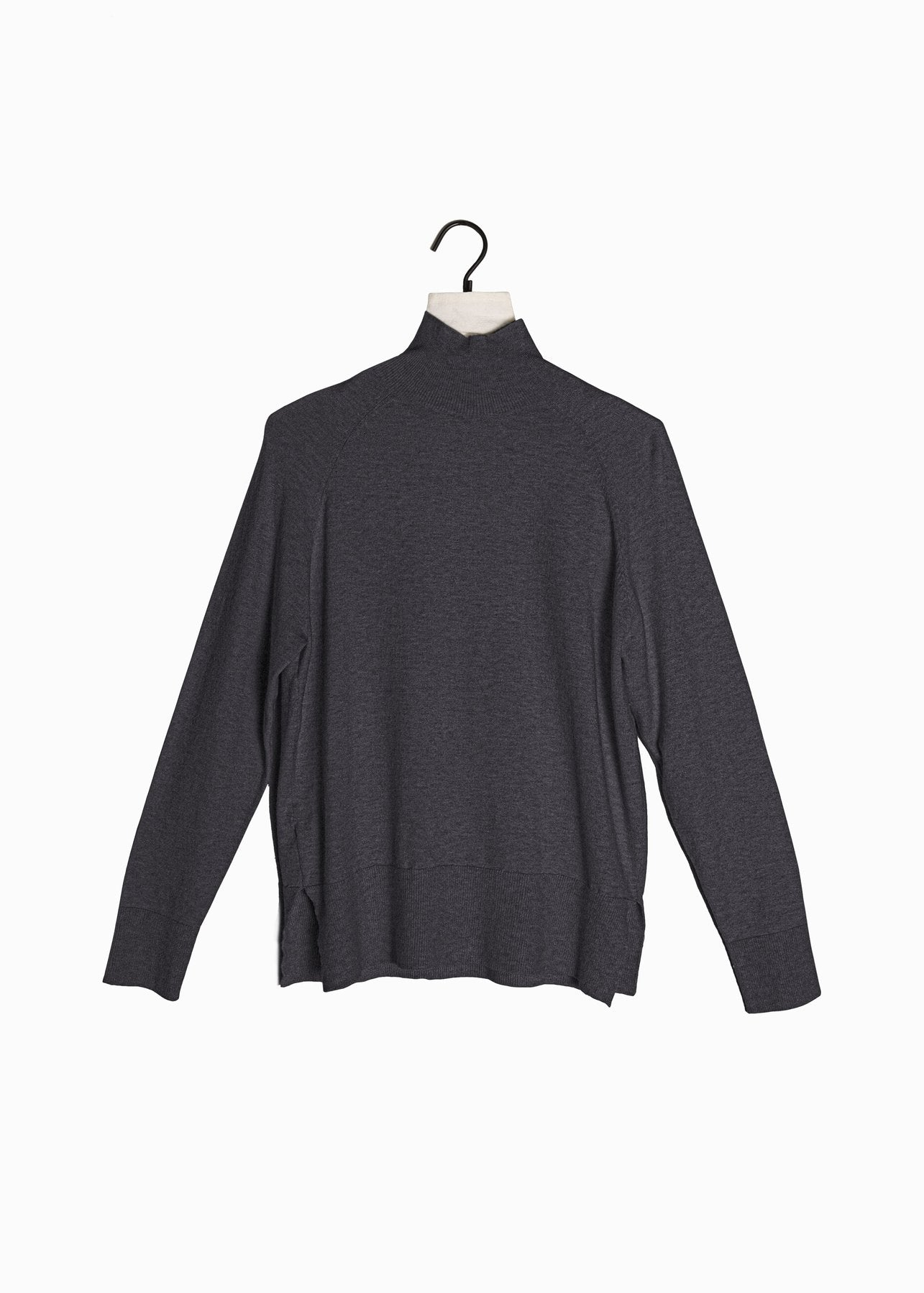 Fine Gauge Mockneck Sweater in Charcoal