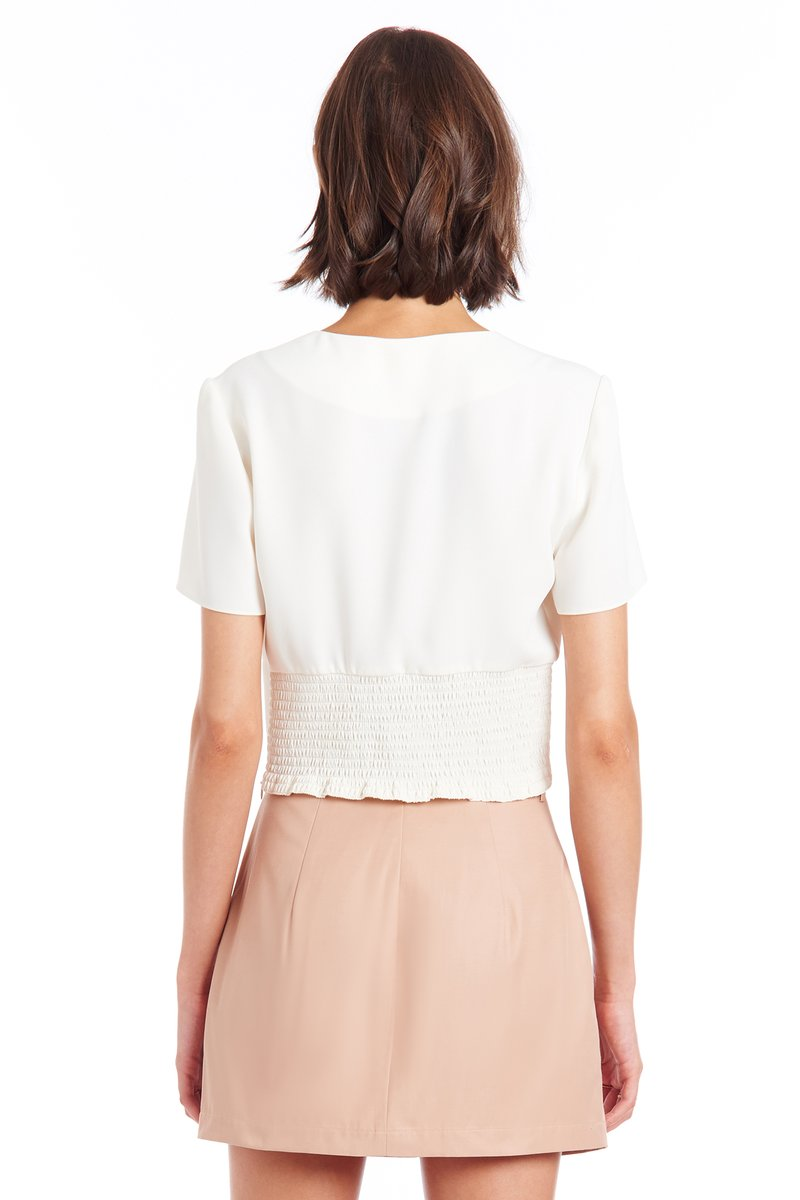 Marlena Short Sleeve Blouse in Ivory