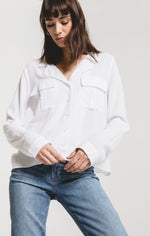 Load image into Gallery viewer, Mazarro Rayon Blouse in White