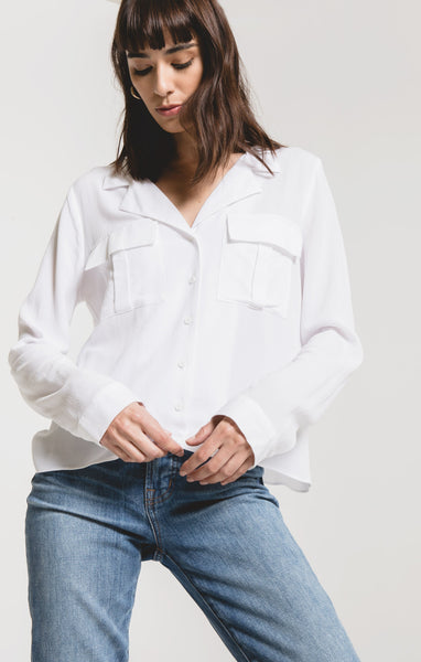 Collared Rayon Blouse in White