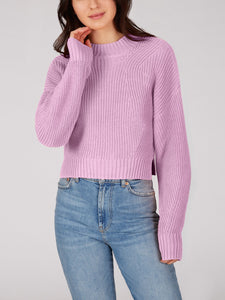 Mia Cotton Crop Sweater in Electric Lilac