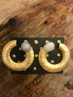 Load image into Gallery viewer, Gold Plated Coil Earrings with Moonstone