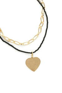 Layered Heart Charm Necklace in Black