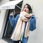 Load image into Gallery viewer, Rainbow Winter Scarf in Ivory Combo