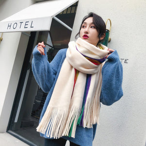 Rainbow Winter Scarf in Ivory Combo