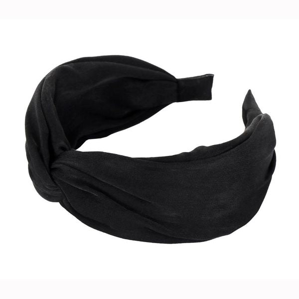 Solid Silk Knotted Headband in Black