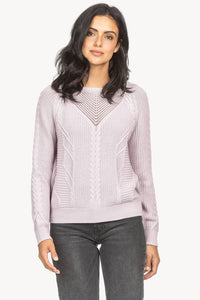 Cable Stitch Pullover Sweater in Lilac
