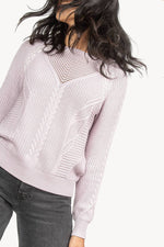 Load image into Gallery viewer, Cable Stitch Pullover Sweater in Lilac