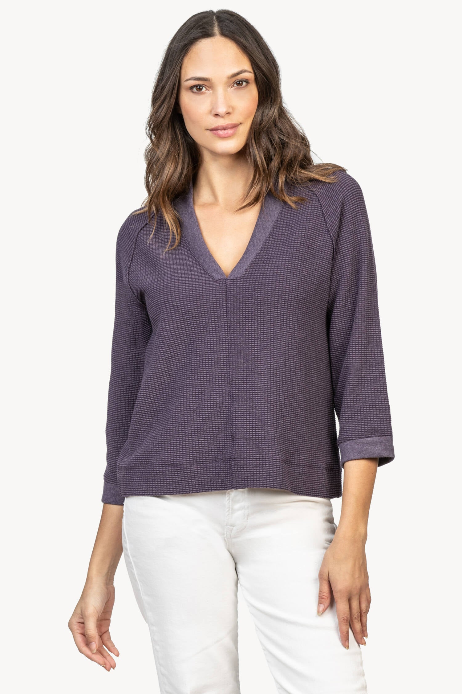 Waffle V Neck in Aubergine