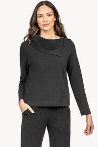 Brushed Terry Zip Neck Top in Black