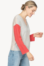 Load image into Gallery viewer, Colorblock V-Neck Sweater in Heather Grey