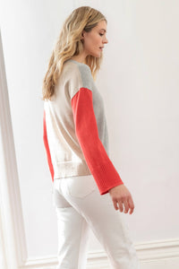 Colorblock V-Neck Sweater in Heather Grey