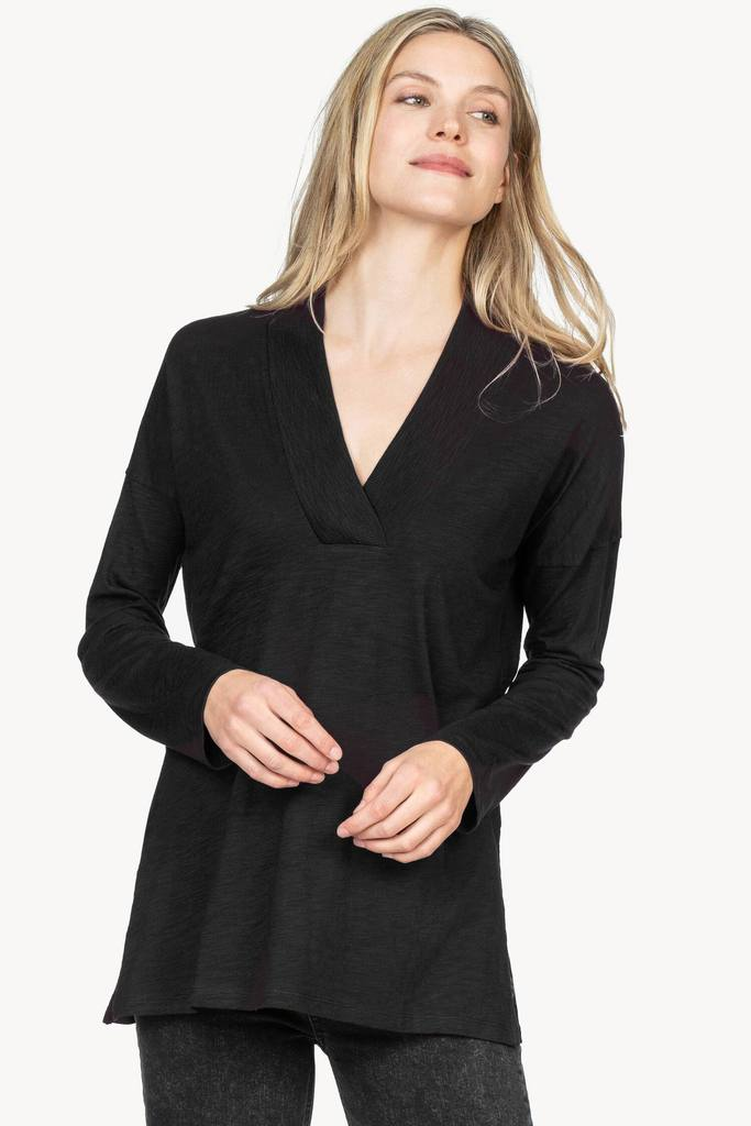 Ribbed Collar Tunic in Black