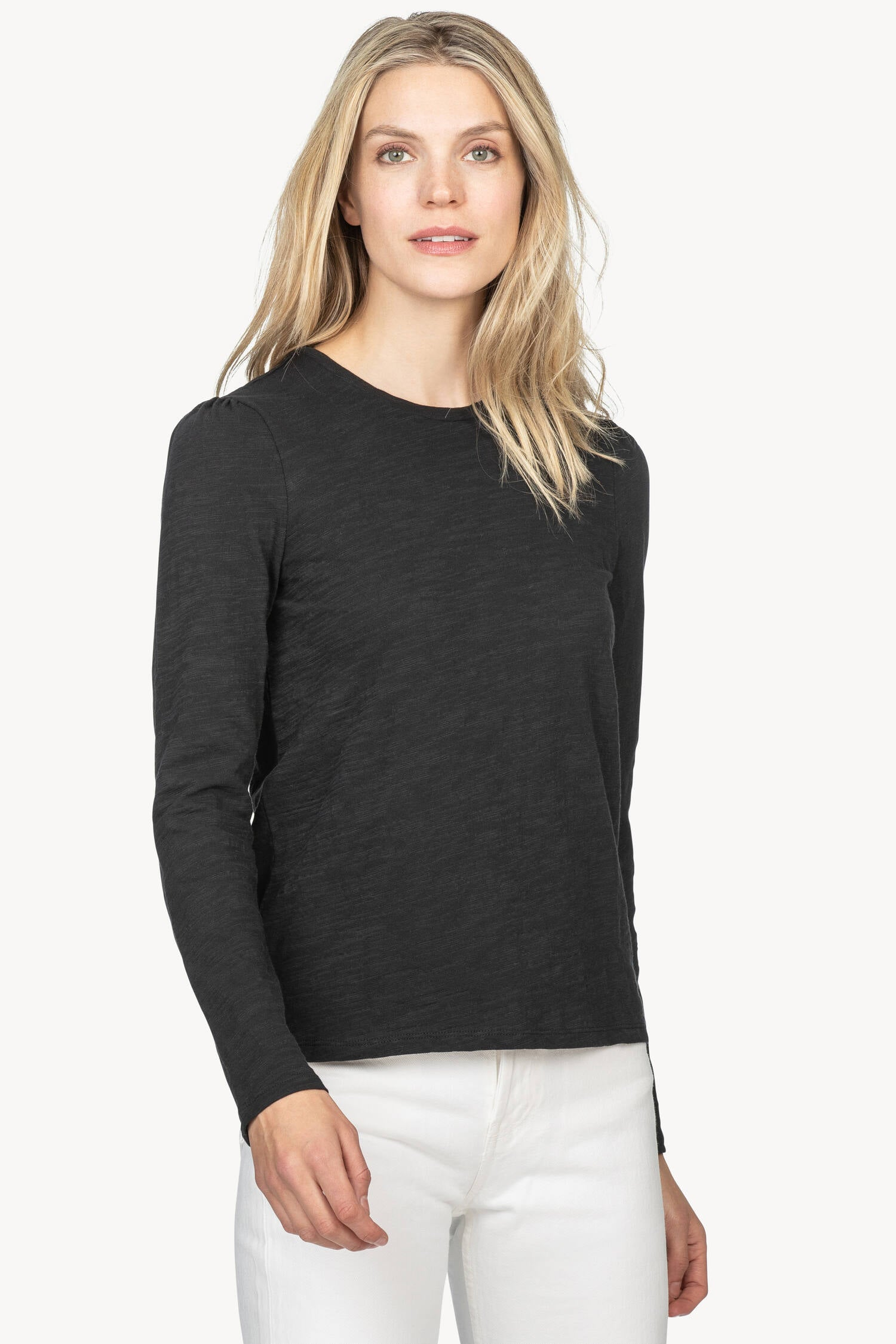 Puff Sleeve Slub Tee in Black