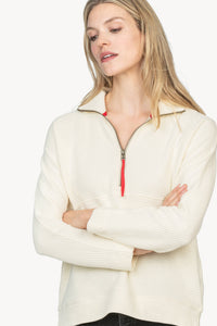 Zip Front Waffle Pullover in Ivory