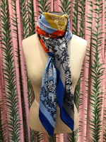 Load image into Gallery viewer, Patchwork Paisley Large Square Scarf in Blue/Orange Combo