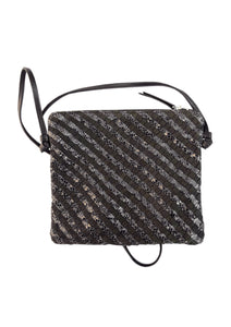 Woven Leather Crossbody Bag in Black Metallic Mix