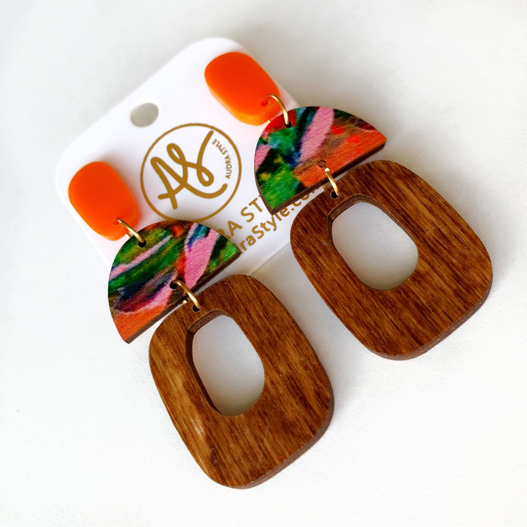 Marie Earring in Orange Wood